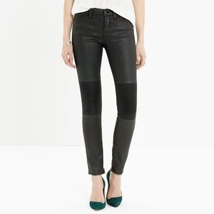 Madewell Moto Wax Coated Black Zipper Jeans